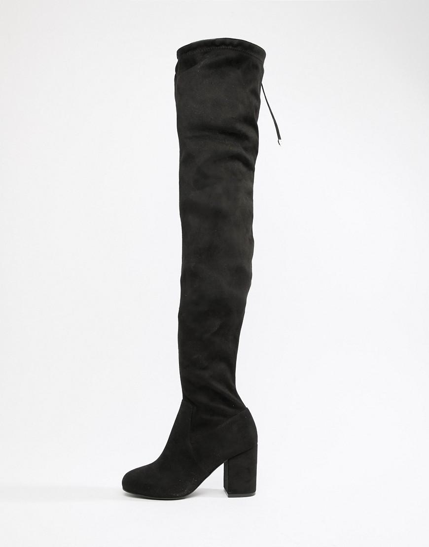 ebacc68959b Lyst - ASOS Wide Fit Birdie Thigh High Boots in Black