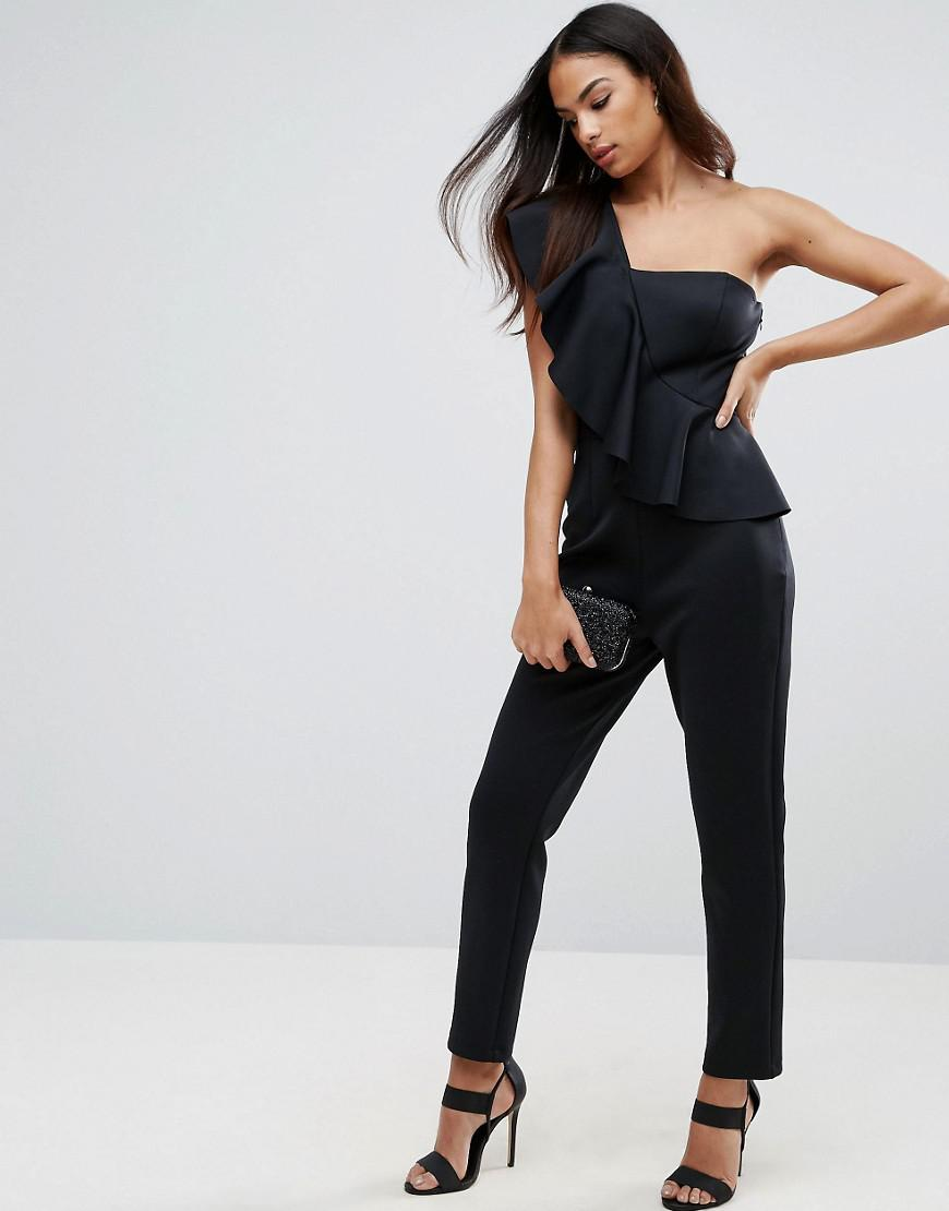 1cd9378dd06 Lyst - ASOS Jumpsuit In Scuba With One Shoulder Ruffle in Black
