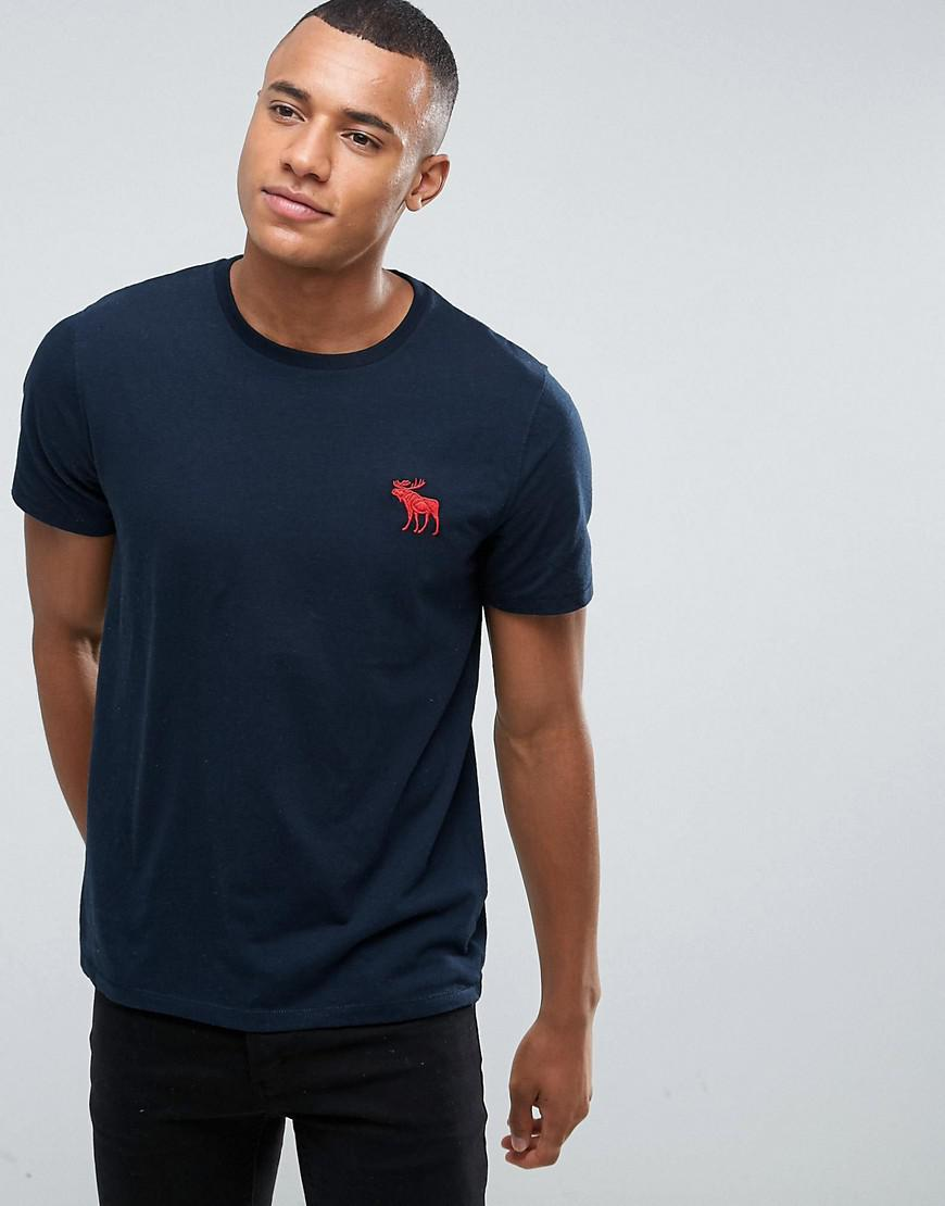 96ce876ec Abercrombie & Fitch. Men's Blue Slim Fit T-shirt Exploded Icon Crew Neck ...