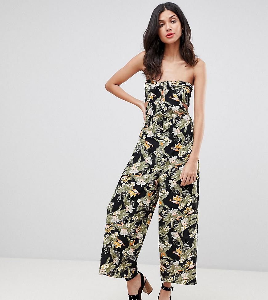 ASOS ASOS DESIGN Tall Bandeau Jumpsuit With Cut Out And Drape Detail In Print Big Discount Sale Online Finishline Online O9CYTog