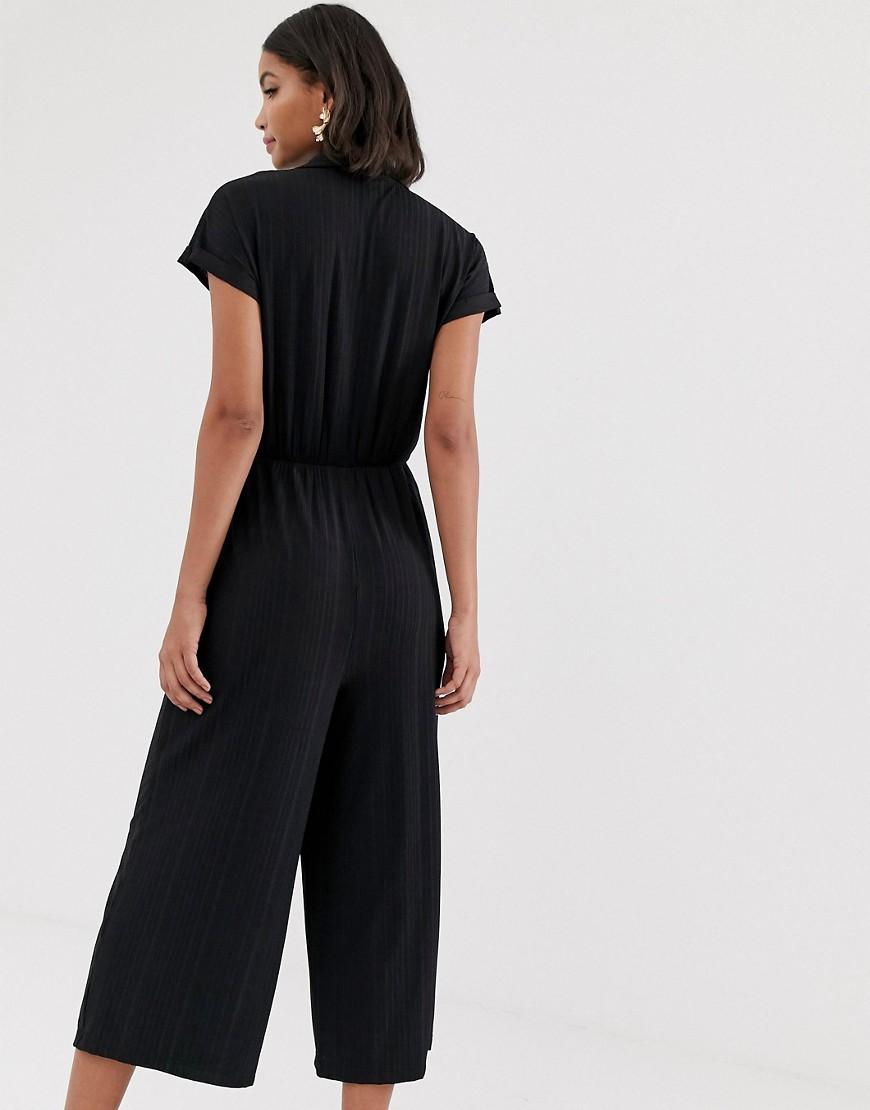 65a5f733b4 Lyst - ASOS Button Detail Shirt Jumpsuit With Short Sleeve in Black