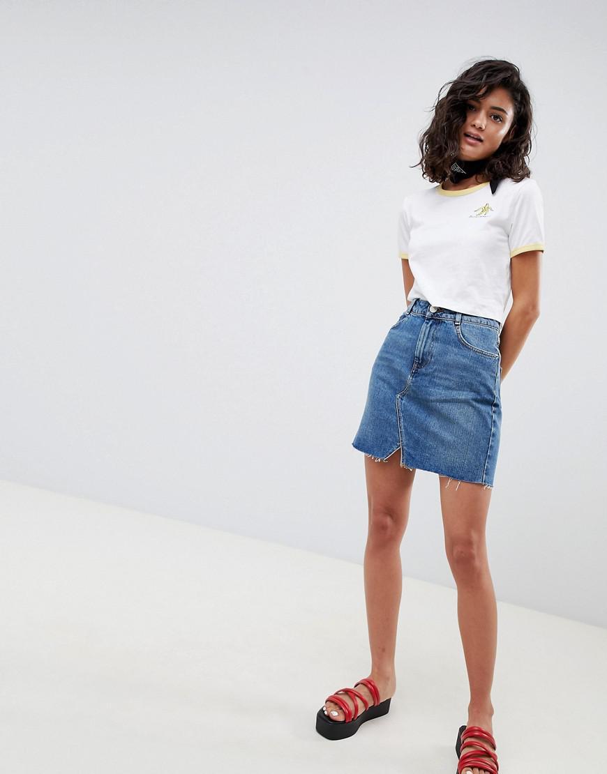 3634d36368 ASOS Denim Pelmet Skirt In Mid Wash Blue in Blue - Lyst