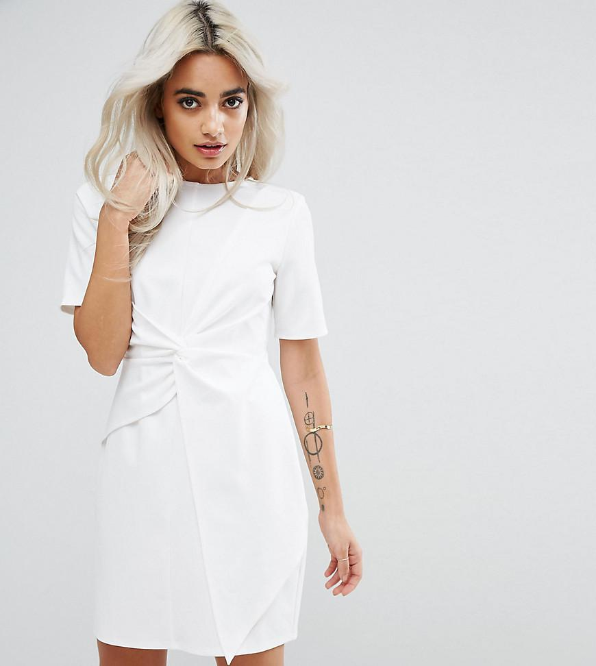 bf2d552eb0e4 ASOS Mini Skater Dress With Twist Front in White - Lyst