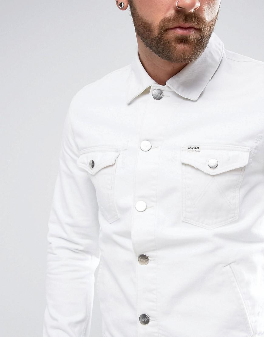 a033fe34933 Wrangler The Slim Authentic Denim Jacket White Ripped in White for ...