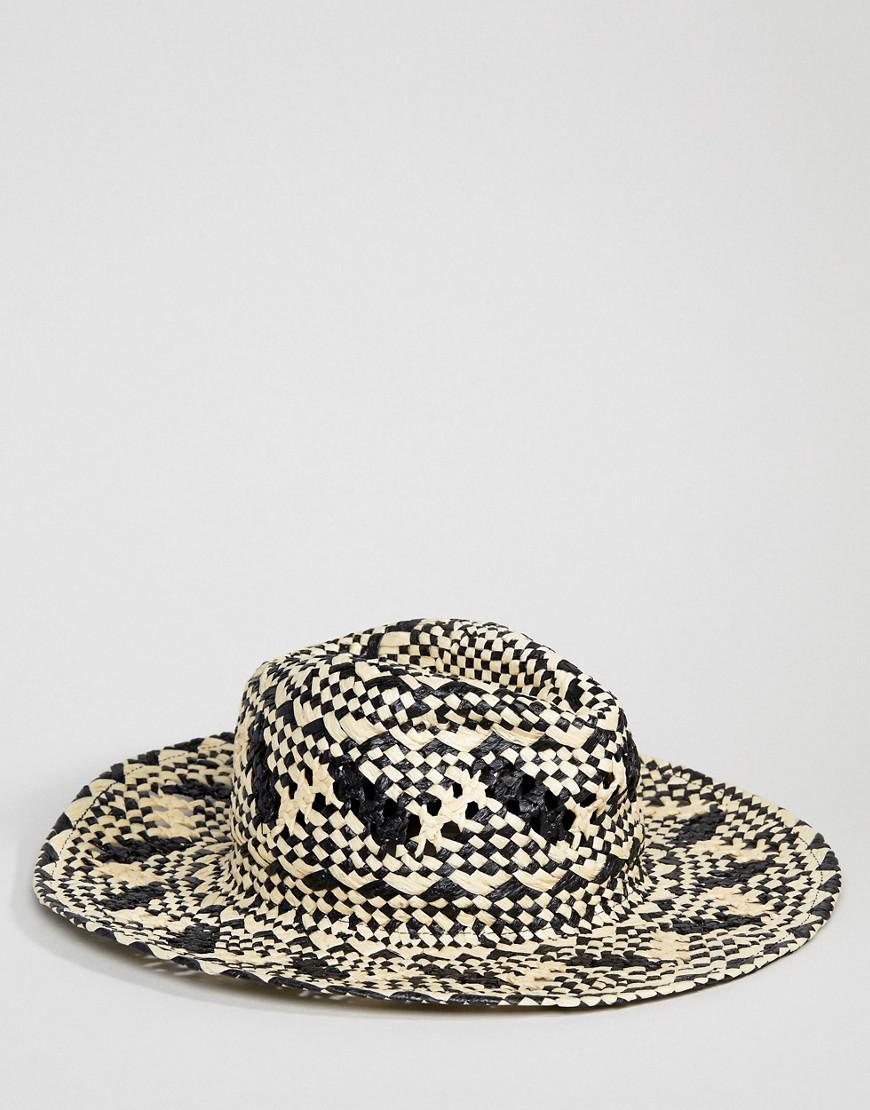 Glamorous Black   Natural Straw Hat in Black - Lyst 1786bd755616
