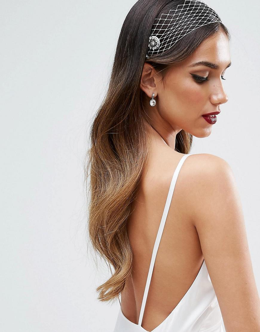 asos wedding jewel net hair comb in white | lyst