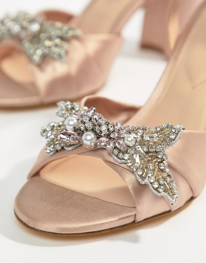 d5f795f4076 Lyst - ALDO Embellished Blush Block Heeled Sandals in Pink