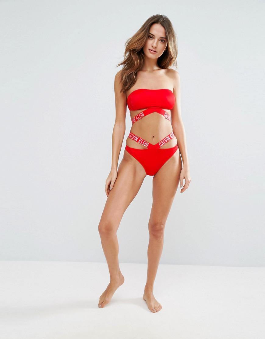 95e618207e8fd Calvin Klein Logo Strap Bikini Bottom in Red - Lyst