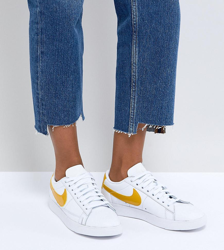 591a7174c87 Nike Blazer Trainers In White And Yellow in White - Lyst