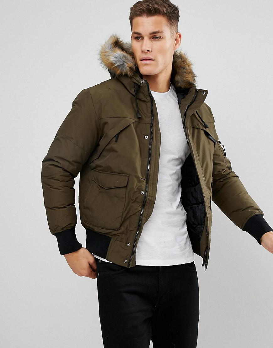 Bershka Short Bomber Jacket With Fur Hood In Khaki in Green for Men - Lyst
