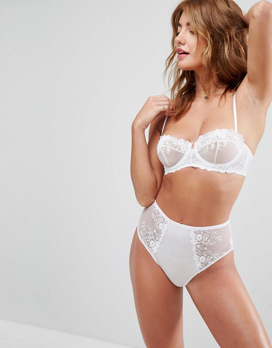 28536d28bb1d Lyst - ASOS Peony Applique Lace Underwire Bra in White