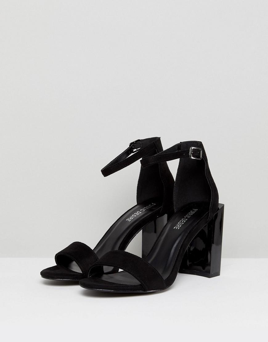 0a539afc48fa Lyst - Public Desire Kitty Block Heeled Sandals in Black