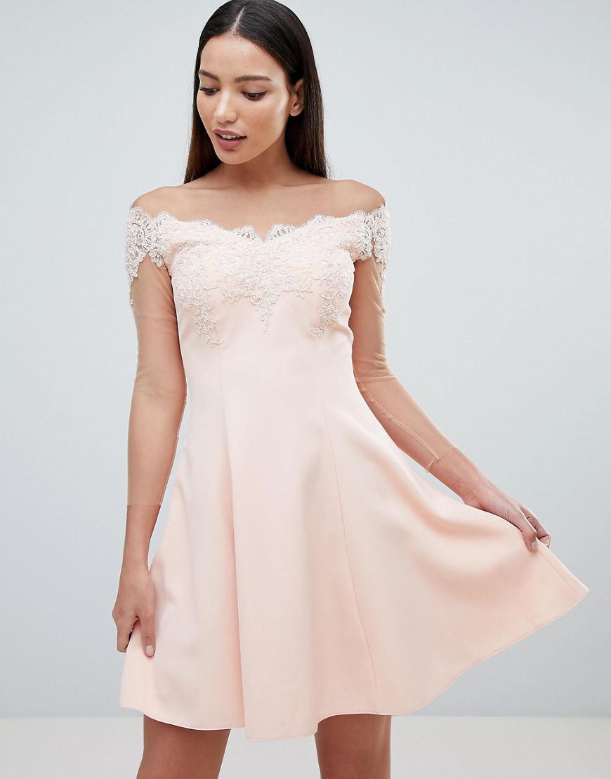 3b589a8d9e Forever Unique Bardot Mini Dress in Pink - Lyst