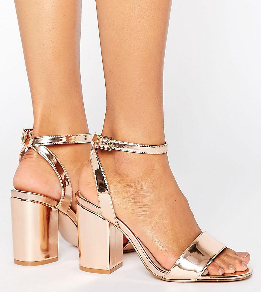 ba2dce06208 Asos Heron Wide Fit Heeled Sandals in Natural - Lyst