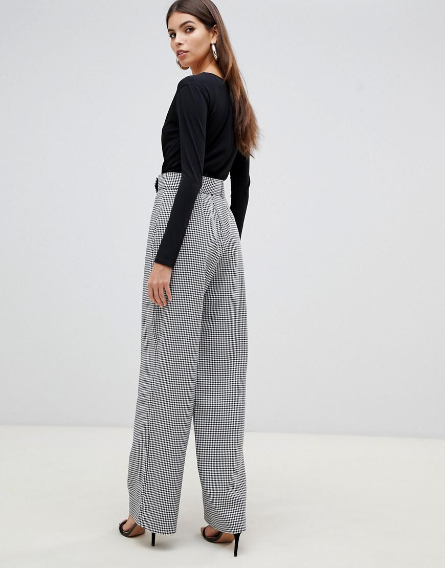 cff88e9ebc Lyst - Lipsy 2 In 1 Dogtooth Jumpsuit In Monochrome in Gray