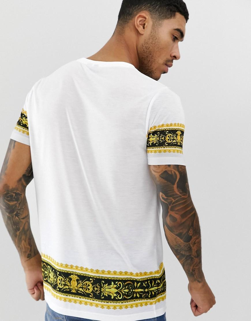 5045ef0a95fc ASOS T-shirt With Baroque Border Print And Text Print in White for Men -  Lyst
