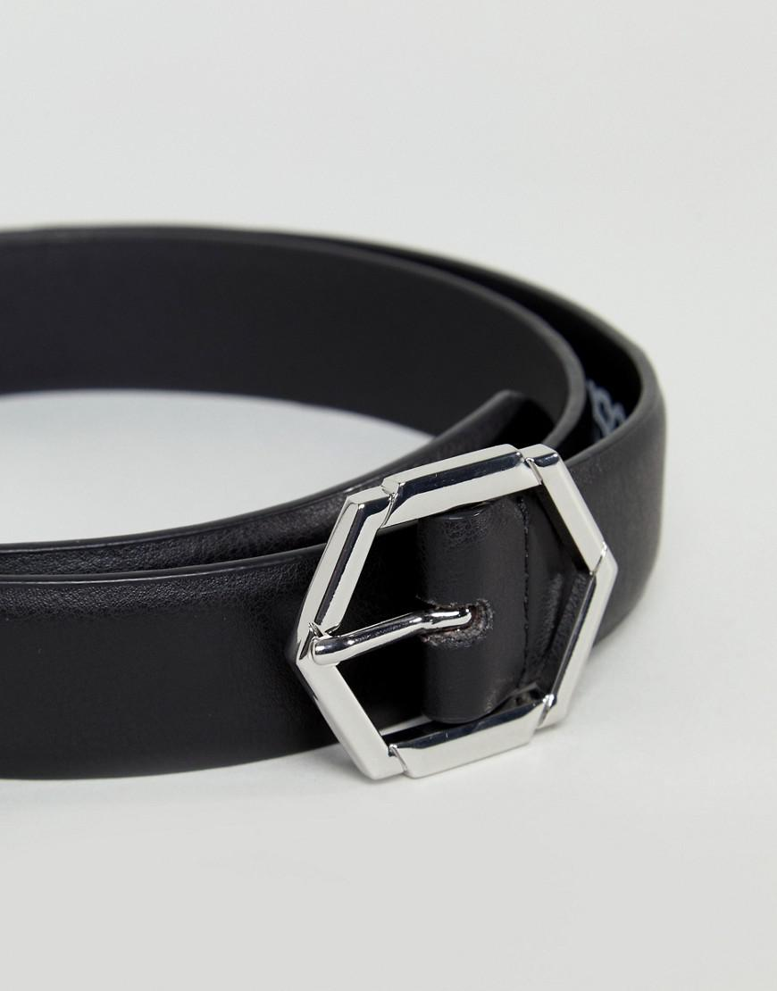 29a49562e25 ASOS - Smart Slim Faux Leather Belt In Black With Hexagon Buckle for Men -  Lyst. View fullscreen