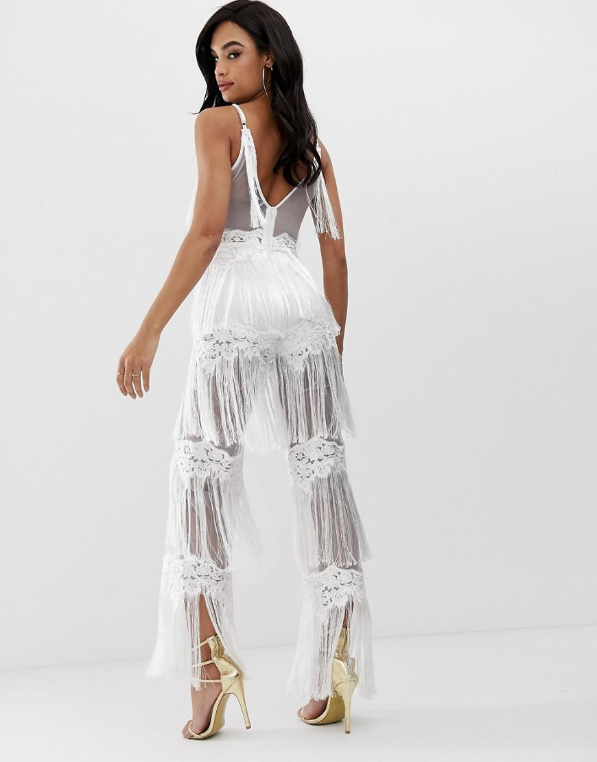512daca699d2 Lioness Sleeveless Allover Lace Jumpsuit With Tassel Trims In White in White  - Lyst