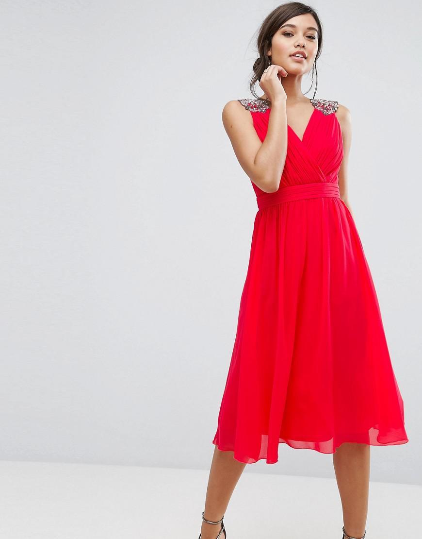 Little Mistress Chiffon Midi Dress With Shoulder