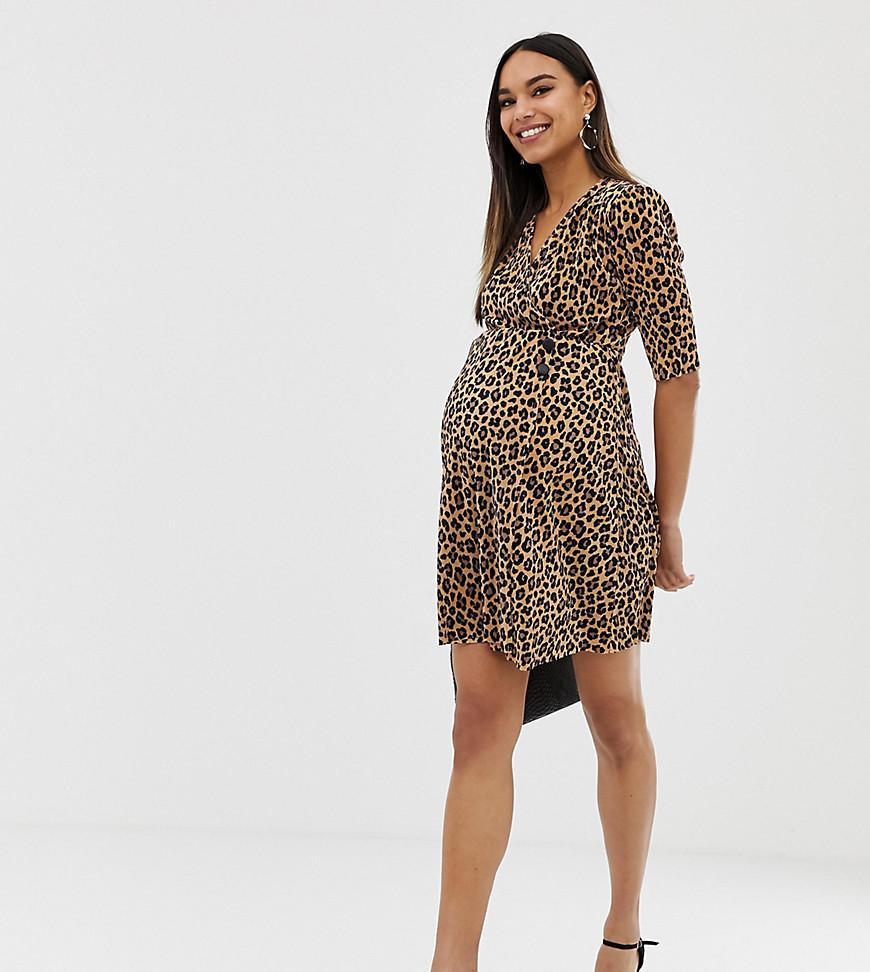 3b7963823db27 ASOS. Women's Asos Design Maternity Leopard Print Plisse Mini Dress ...