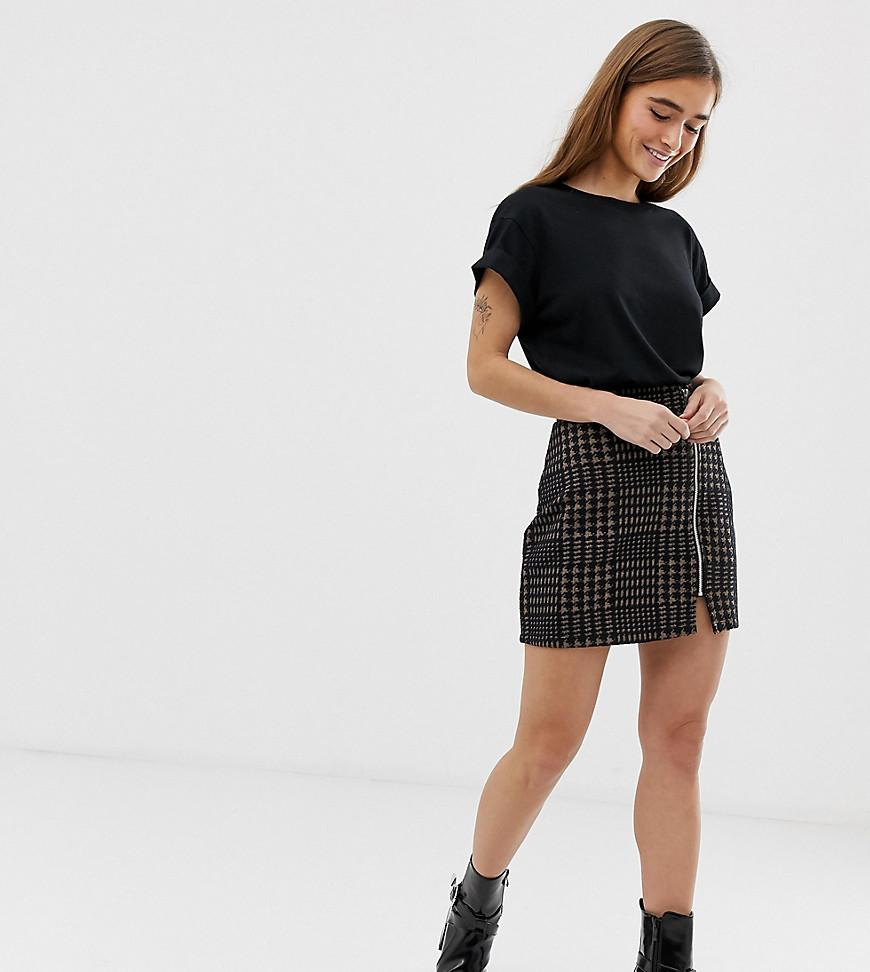 06028eb35e9698 ASOS. Women's Asos Design Petite Ponte Mini Skirt With Zip Front In Brown  Check
