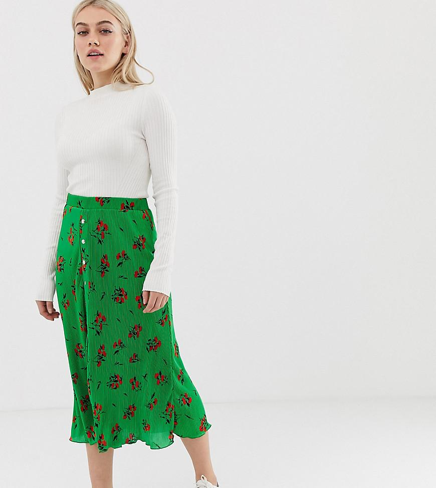 5203d0a1336abc ASOS. Women's Green Asos Design Petite Floral Plisse Pleated Midi Skirt  With Poppers
