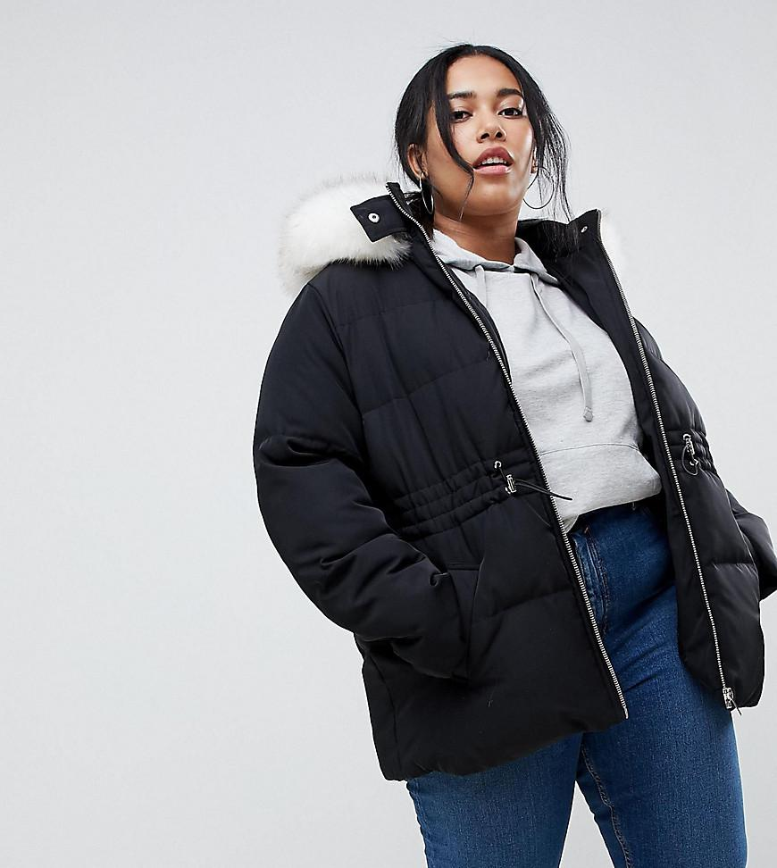 4960e79094d Lyst - ASOS Asos Design Curve Puffer Jacket With Waist Detail And ...