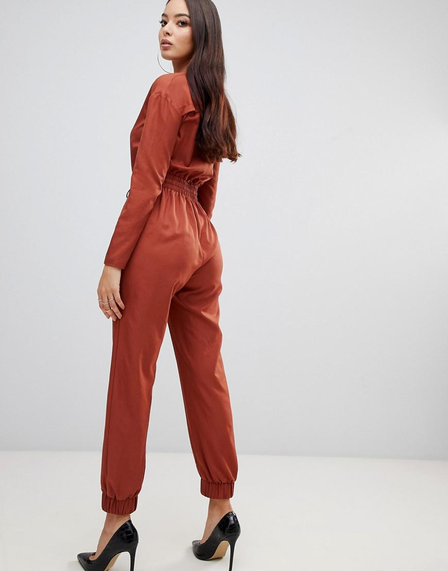 9567b9055a45 Lyst - PrettyLittleThing Utility Jumpsuit In Tan in Brown