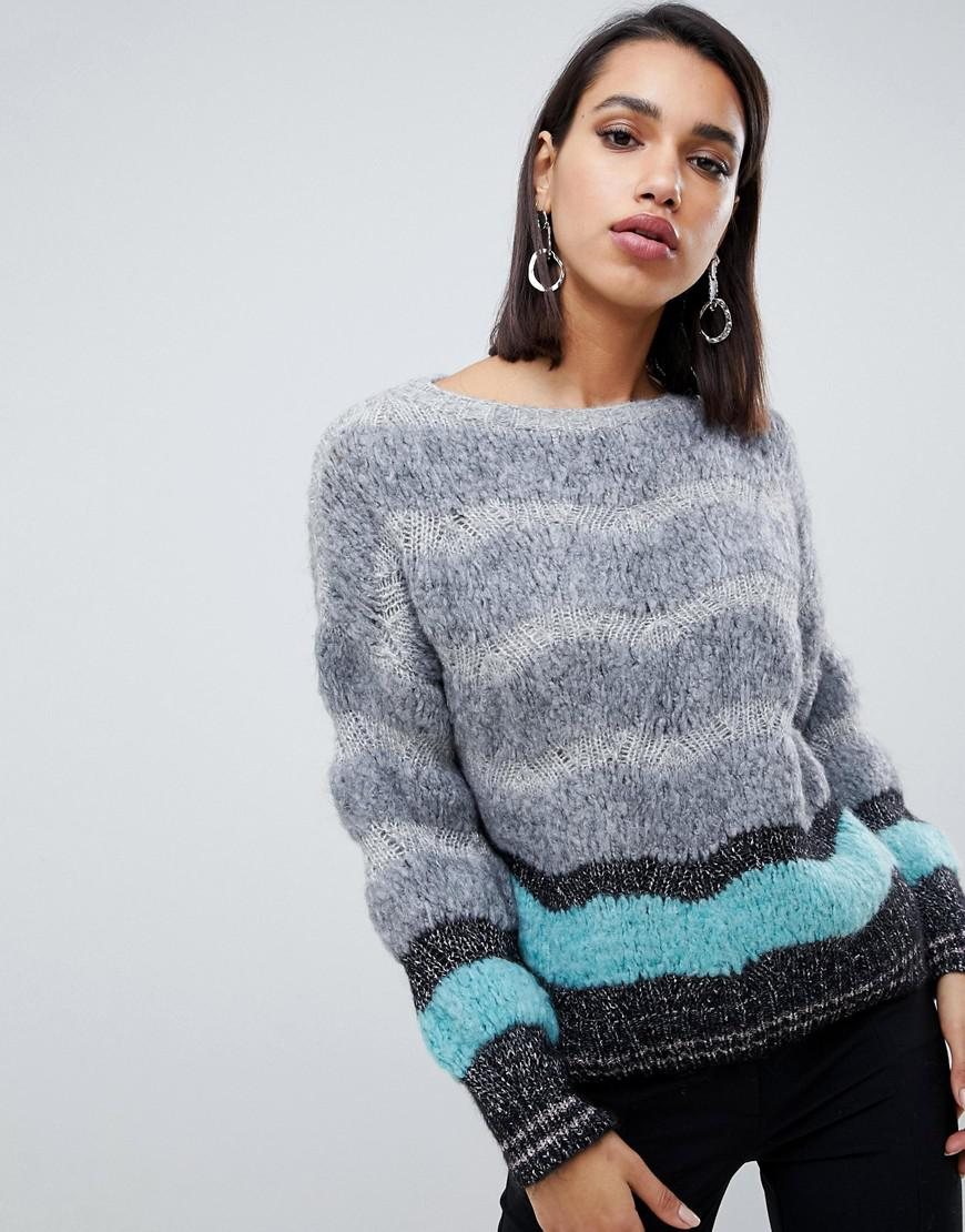Sisley Multi Textured Sweater With Metallic Thread in Gray - Lyst 29d496f99
