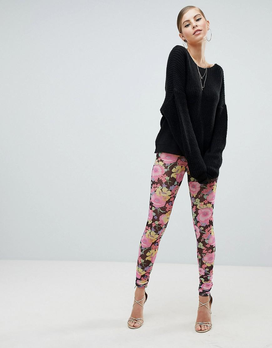 1e2eef5f0e7ae Lyst - ASOS Asos Leggings In Mesh With Floral Print