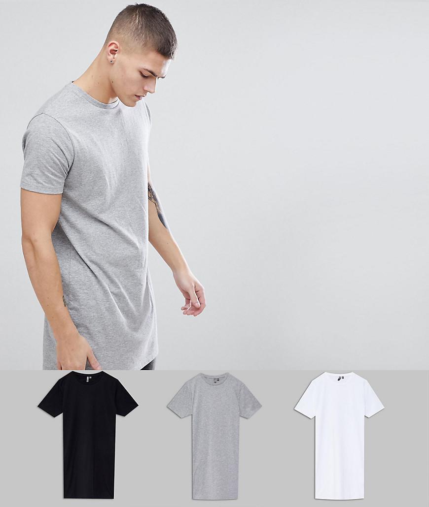 DESIGN super longline t-shirt 3 pack SAVE - Multi Asos Top Quality Sale Online nzelxDL