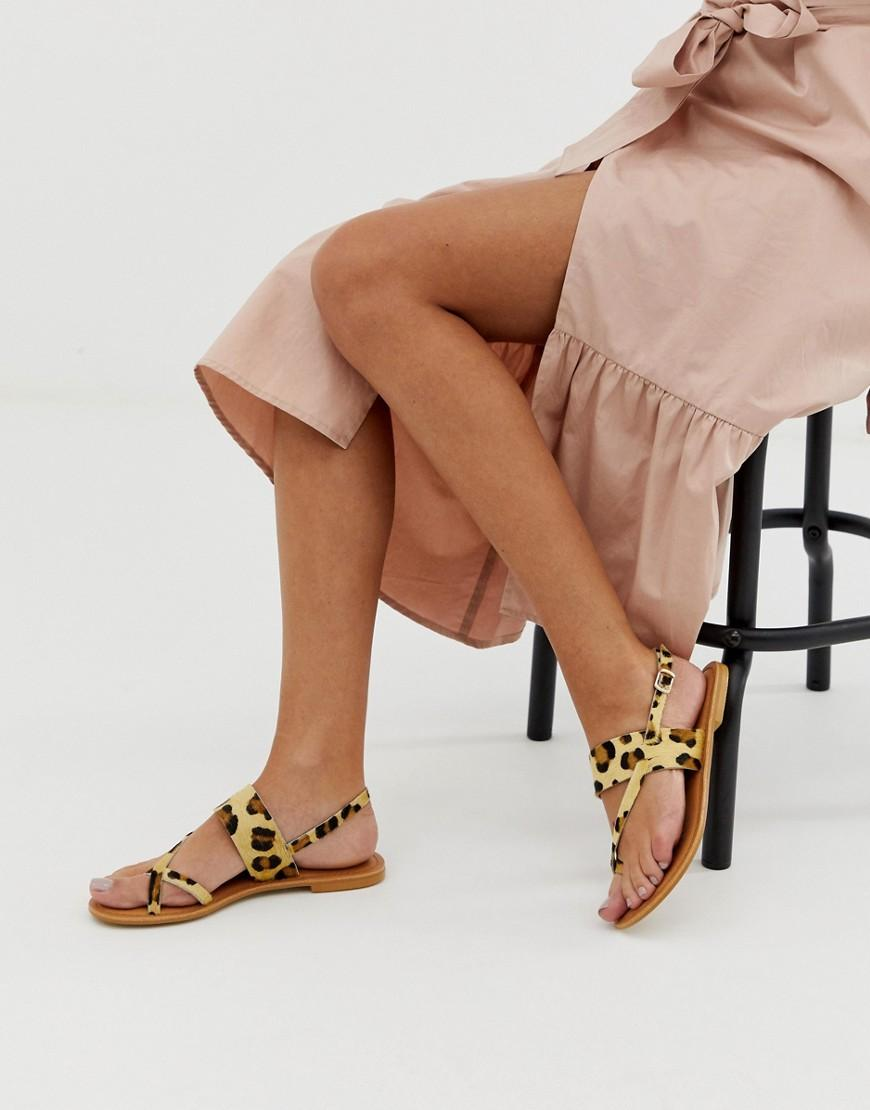 4f5c28502ab Lyst - ASOS Flisse Leather Flat Sandals In Leopard