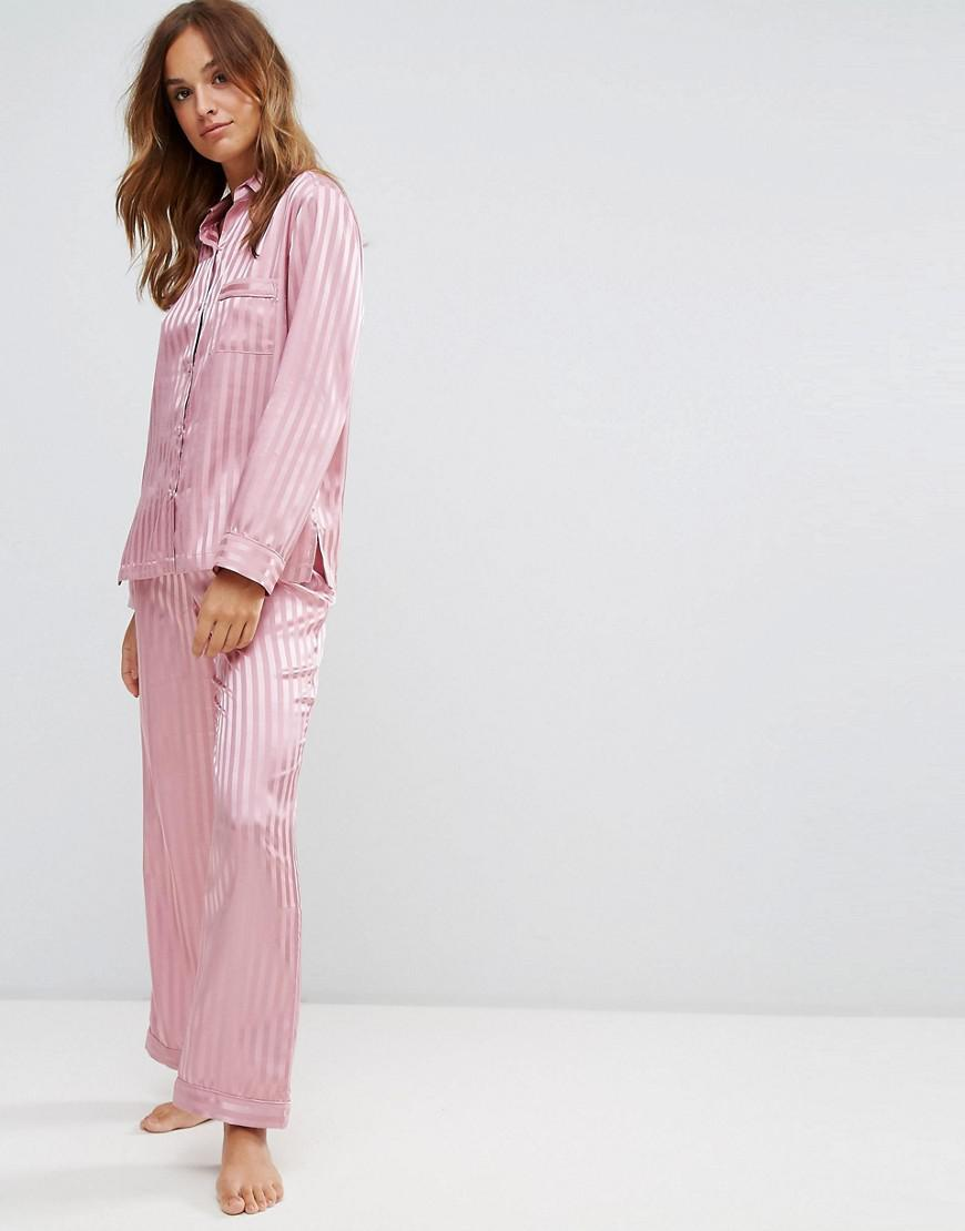 Lyst - Boux Avenue Stripe Satin Long Pyjama Set in Pink ac8071654