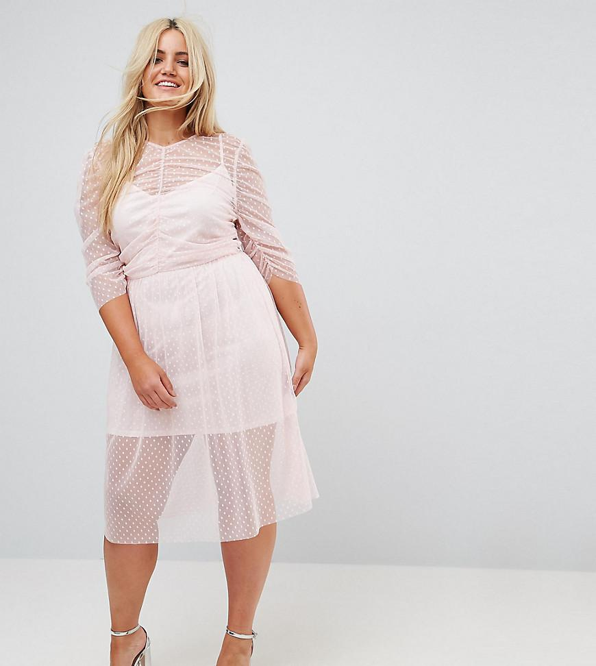 1eadd3a8e7c44 Lyst - ASOS Ruched Midi Dress In Spot Mesh in Pink