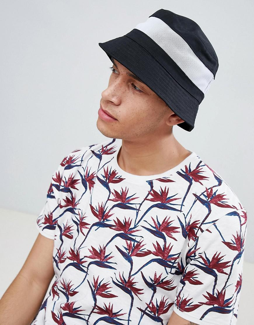 a8fad98519803 Lyst - ASOS Bucket Hat In Black With White Mesh Panel in Black for Men