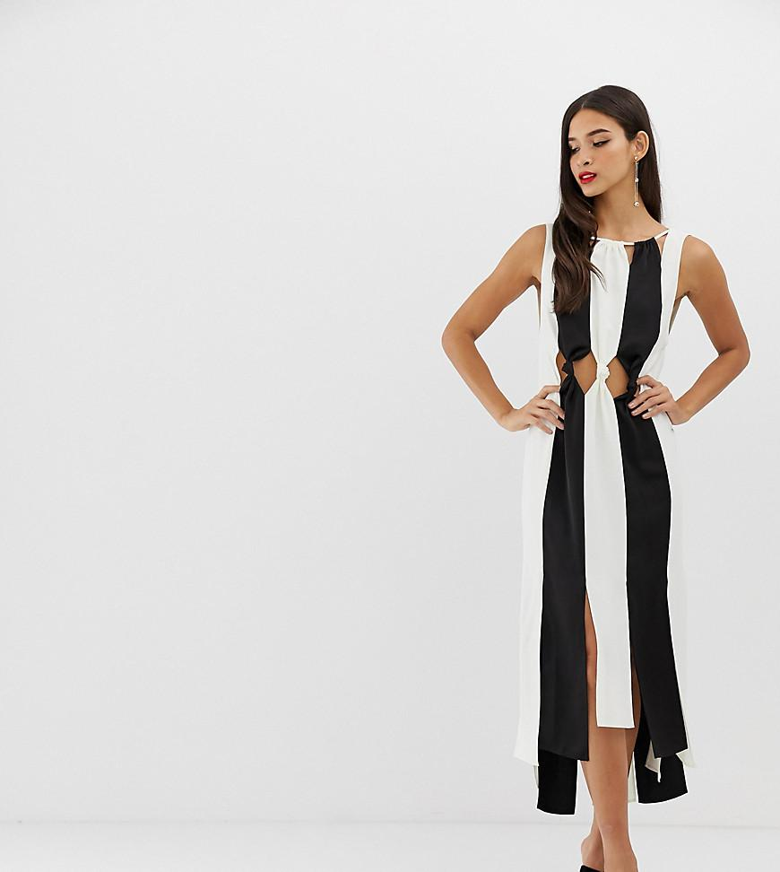 890072456417 Lyst - ASOS Knot Waist Monochrome Crepe Spliced Midi Dress in White