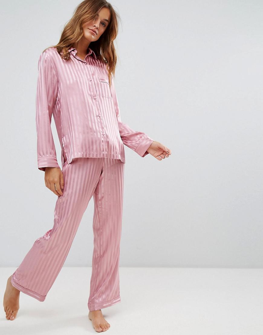 914228950079a Boux Avenue Stripe Satin Long Pyjama Set in Pink - Lyst