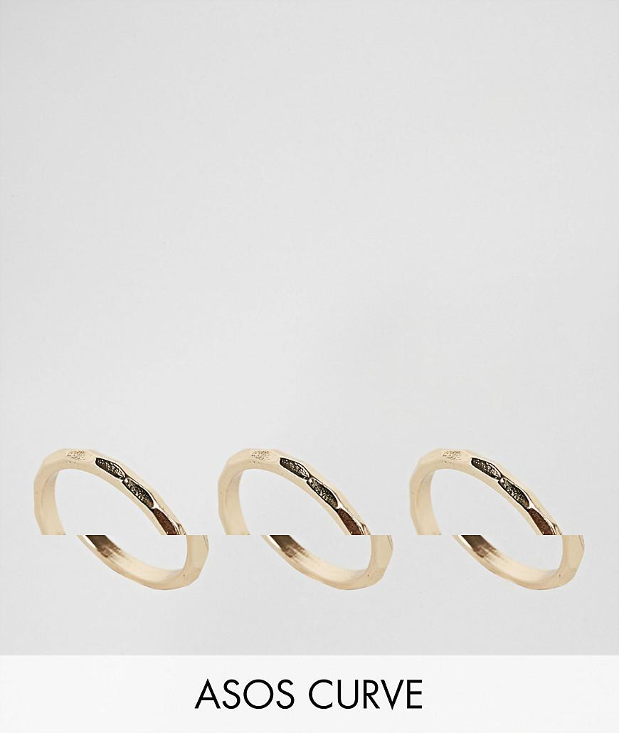 Pack of 3 Hammered Stacking Rings - Multi Asos Curve 7VTy2d