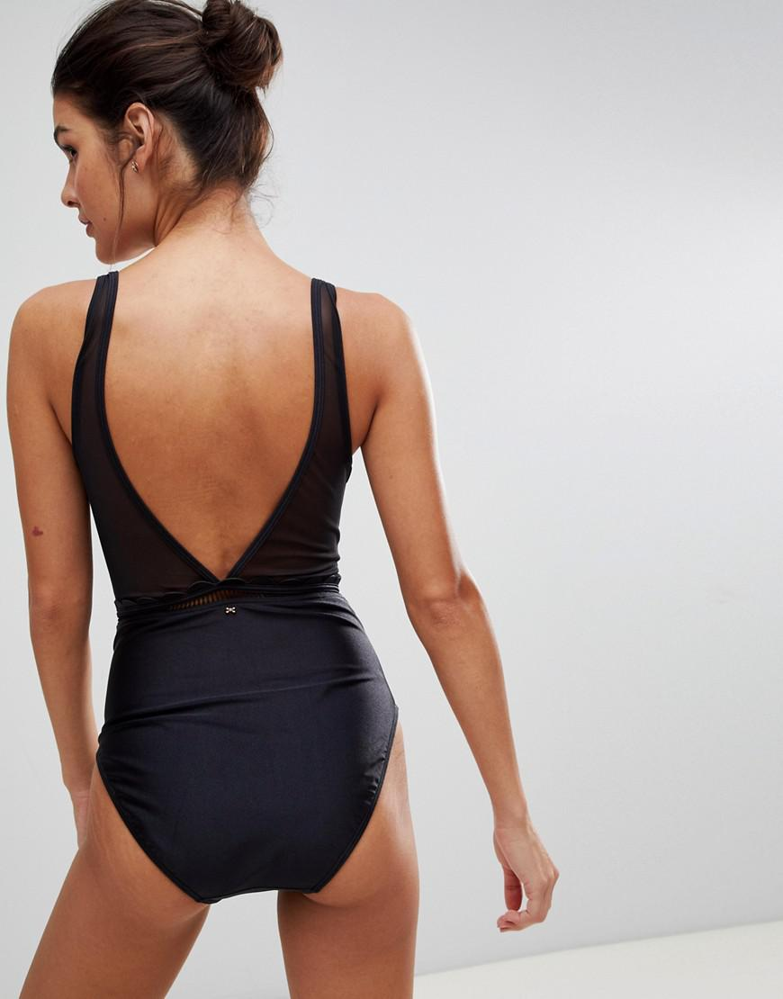 7052a6629 Ted Baker - Black Scallop Mesh Swimsuit - Lyst. View fullscreen