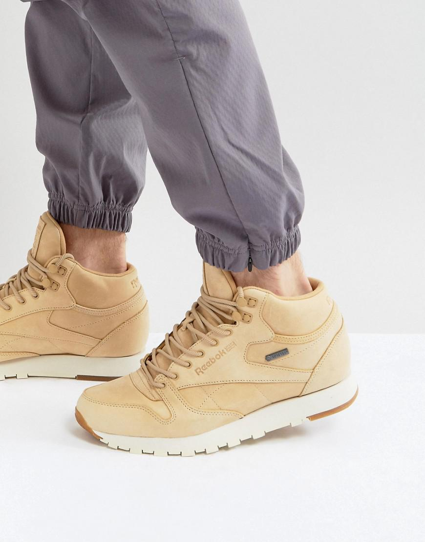 6de87543f65 Reebok Classic Leather Mid Gtx Trainers In Tan Bs7882 for Men - Lyst