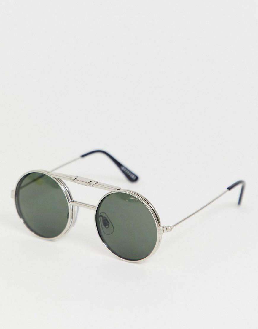 9fc40aacd Spitfire Lennon Round Flip Up Sunglasses In Green in Metallic for ...