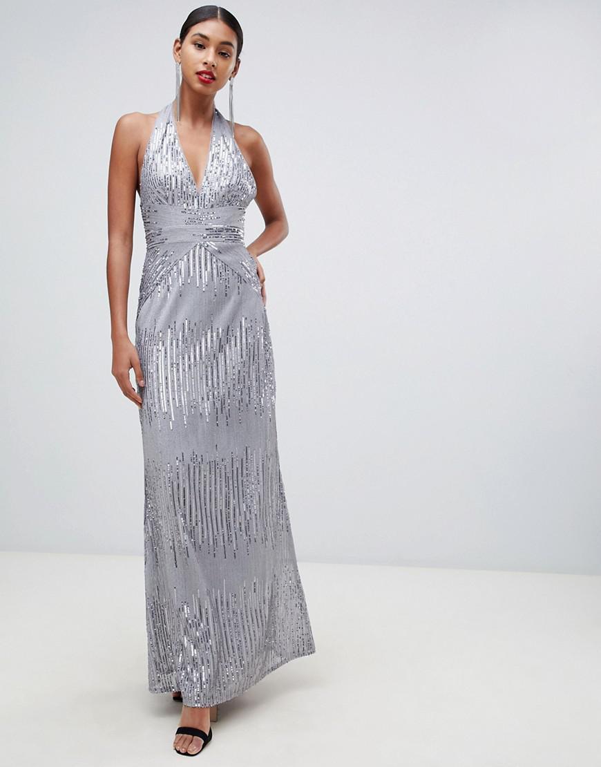 b279d4eae90b TFNC London. Women's Metallic Sequin Maxi Dress With Open Back In Silver