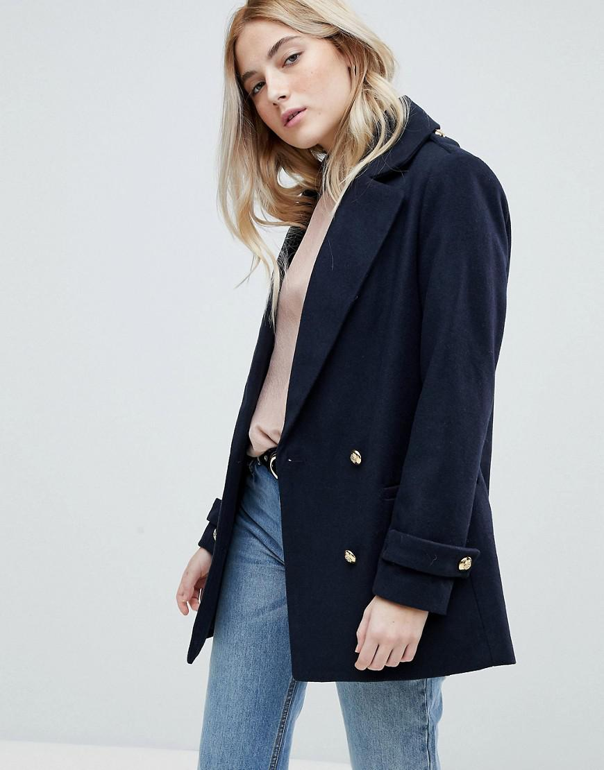 New Look Puff Sleeve Pea Coat Discount Codes Clearance Store Free Shipping Perfect 4E4mwZ9d