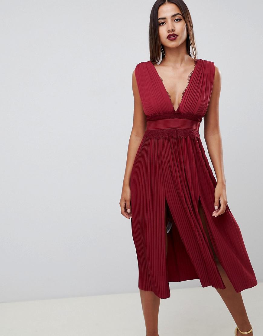 cd60cb00a2e ASOS Premium Lace Insert Pleated Midi Dress in Red - Lyst