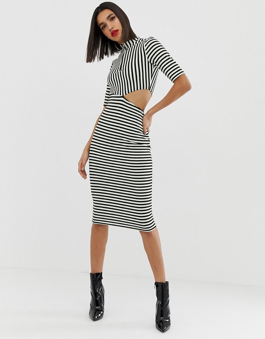 8046d24a ASOS. Women's Neon Stripe Cut Out Midi Dress