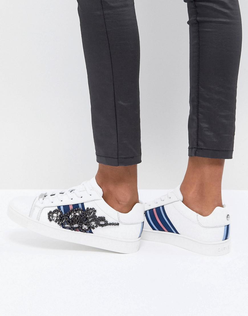 Carvela Leather Sneaker With Sports Stripes & Embellishment Ot3z8n