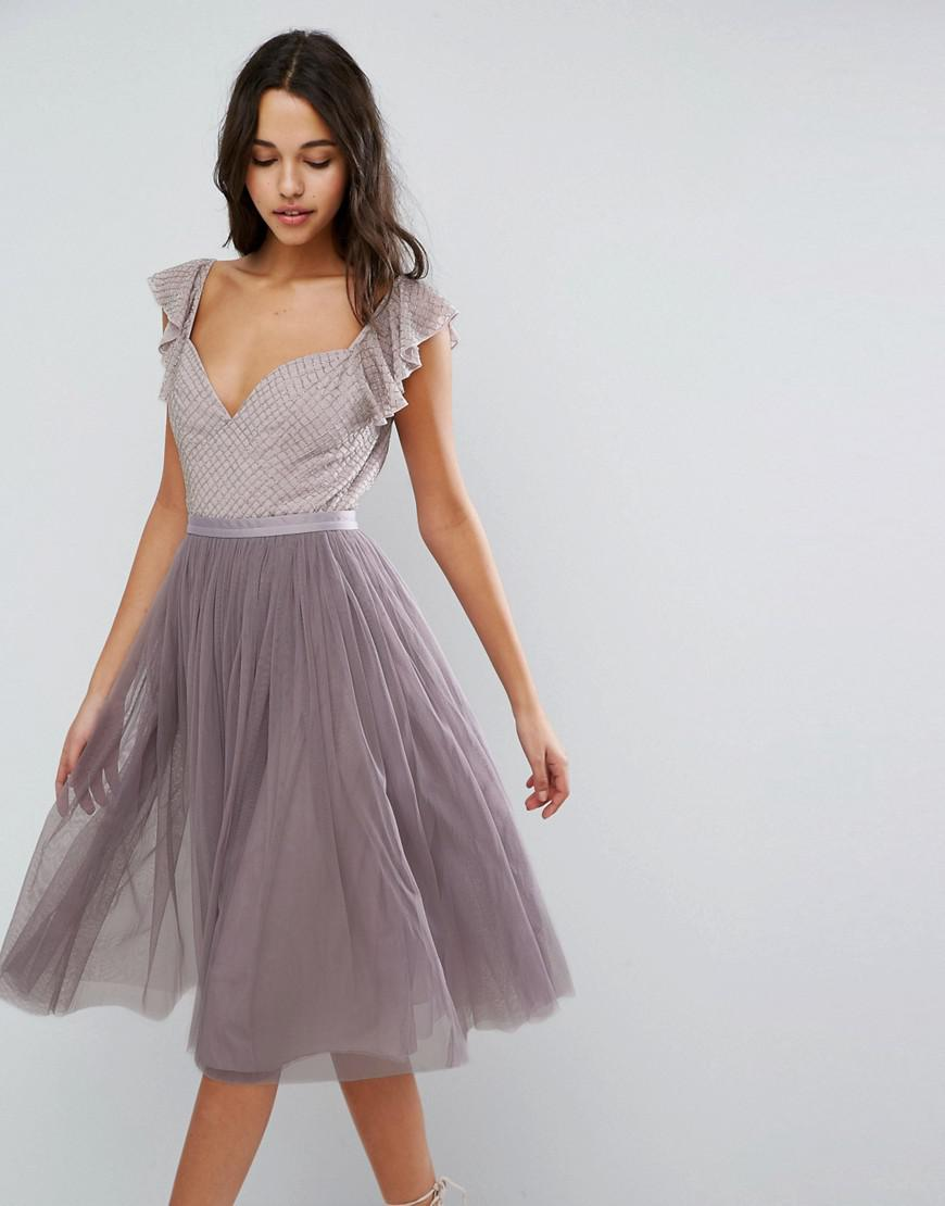 d102f0cdc7fa5 Needle   Thread Swan Tulle Midi Dress With Frill Sleeve in Purple - Lyst