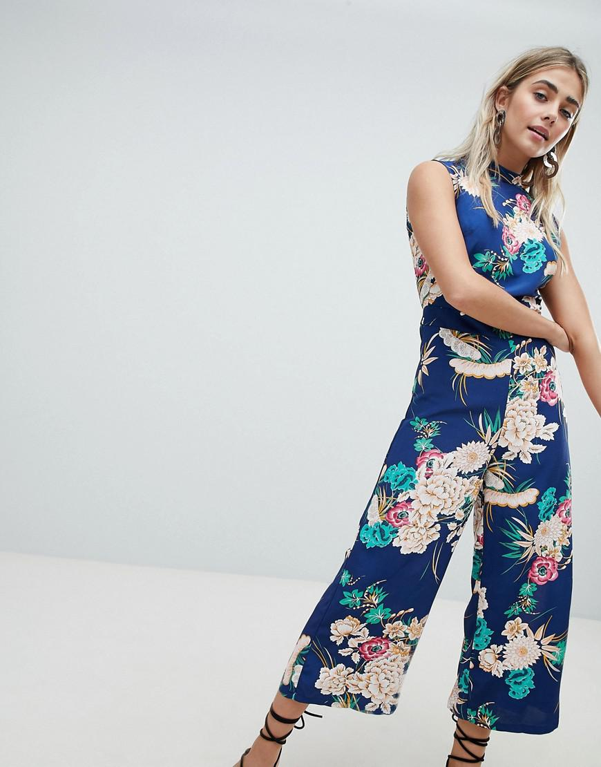 8969b1a881 Missguided Open Back High Neck Culotte Jumpsuit in Blue - Lyst