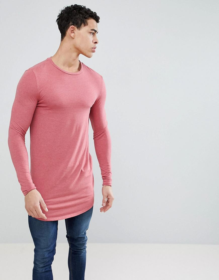 aaa5ce9b Lyst - ASOS Super Longline Muscle Fit Long Sleeve T-shirt With ...