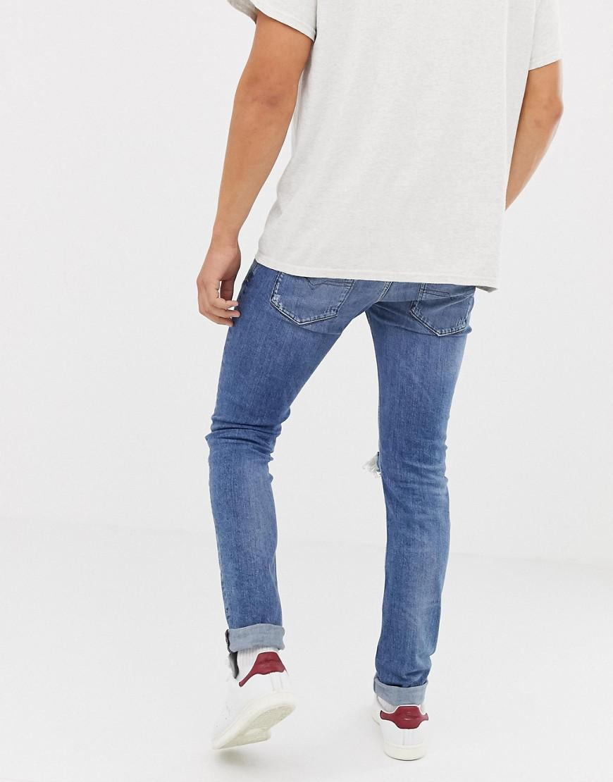 c81a3f71 DIESEL Sleenker Skinny Fit Jeans In 084ai With Abrasions in Blue for Men -  Lyst